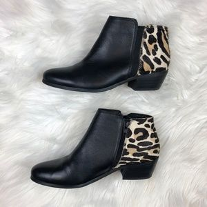 Aldo Leather and Leopard Calf Hair Ankle Booties